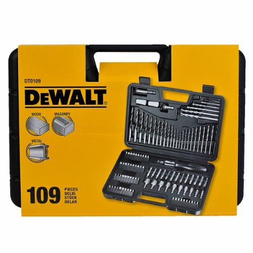 Dewalt DT0109-QZ Juego de 109 Piezas Atornillar y Taladrar Madera 3-8mm, 13 X Brocas para Metal 1.5-6.5mm, 5 X