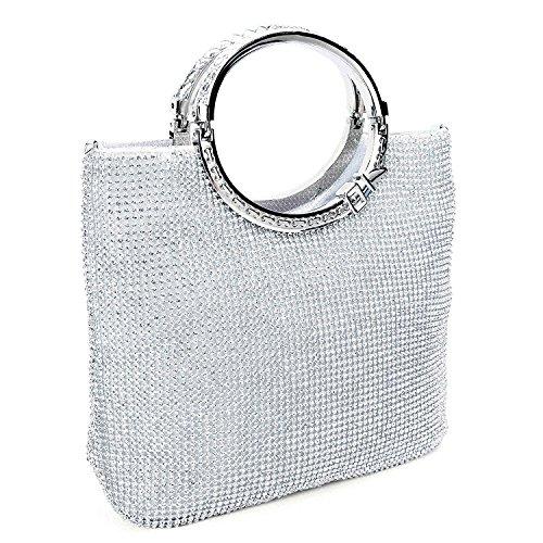 EULovelyPrice Damen Handgemachte Strass Handtasche, Abendtasche Damen Clutch Für Party (Silber)