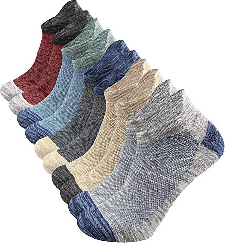 crazy bean Ankle Athletic Socks 5 Pairs Low Cut Sport Running Socks Breathable Casual Cotton Trainer Socks with Heel Tab Non-Slip Walking Socks Multicoloured Ankle Socks for Men Women