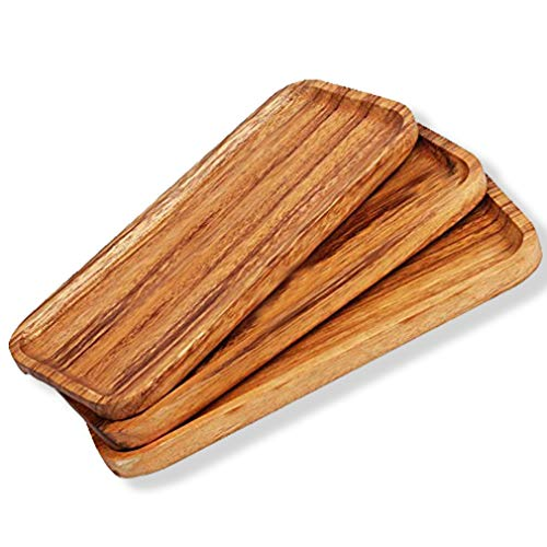 Wooden Serving Tray And Platters Dishwasher SAFE Set of 3 Unfinished Wooden Platters Party Plates Bar Plate Wooden TV Trays Fruit Serving Food Board Comfortable Easy Handling