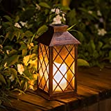 TAKE ME Solar Lantern,Outdoor Garden Hanging Lantern-Waterproof LED Flickering Flameless Candle Mission Lights for Table,Outdoor,Party
