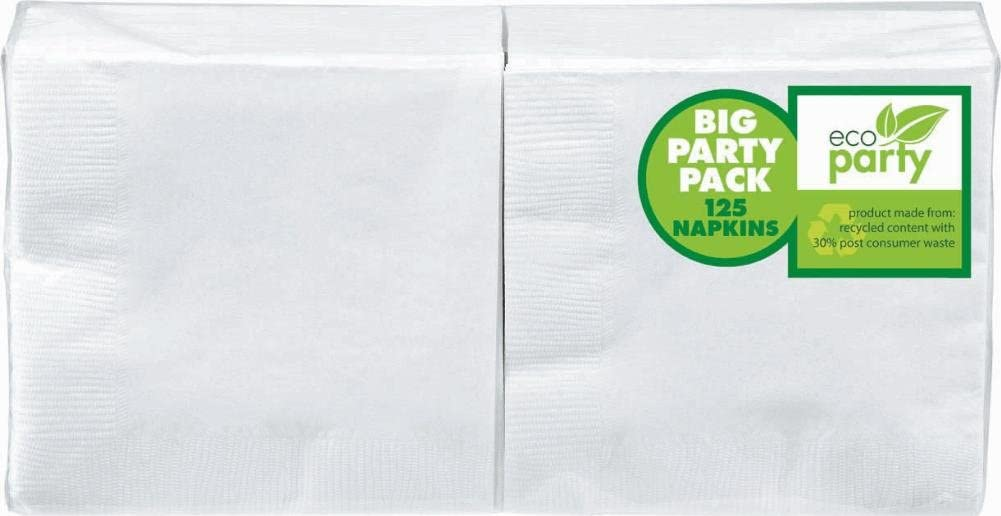 Amscan Big Party Pack 125 Count Beverage Napkins, White (ECO)