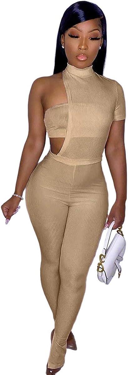 XuFeng Women Slim Fit Ribbed 3 Piece Outfit Crop Top+Bodysuit+Pencil Pant