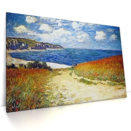CanvasArts Strandweg zwischen Weizenfeldern bei Pourville - Claude Monet - Leinwand Bild auf Keilrahmen (80 x 60 cm, Leinwand auf Keilrahmen)