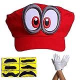 thematys Super Mario Odyssey Mütze - Set mit 1x Handschuhen und 6X Klebe-Bart - Kostüm für...