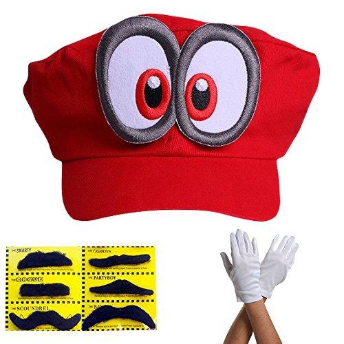 Super Mario Beanie ODYSSEY ROSSO con Occhi Set completo con guanti e 6x Barbe adesive Per adulti e bambini Carnevale Carnevale Disguise Costume Berretti Cappello Cap Uomo Donna Cappellino