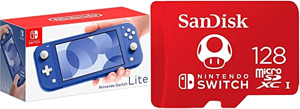 Nintendo Switch Lite - Blue with SanDisk 128GB microSDXC-Card, Licensed for Nintendo-Switch
