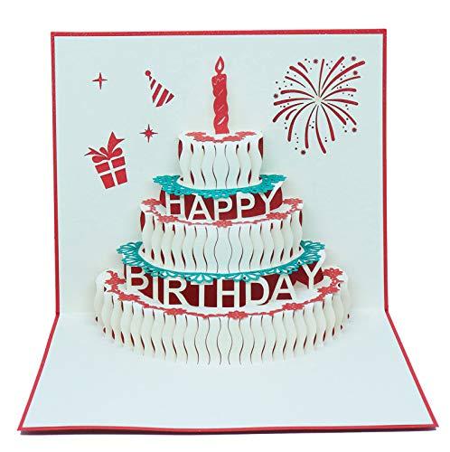 OJsensai 切り絵立体バースデーケーキ 誕生日カード レッドグリーティングカード 手作り オリジナル バース...