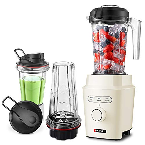 Hauswirt 1200W High Speed Blender with 51 Oz Tritan Pitcher, 25 Oz, 16 Oz To-go Cups for Single Personal and Family Serving, Powerful Professional Countertop Kitchen Food Mixer For Ice Frozen Fruit Crushing, Nuts Butter, Shakes and Smoothies - Metal Body, Cream White