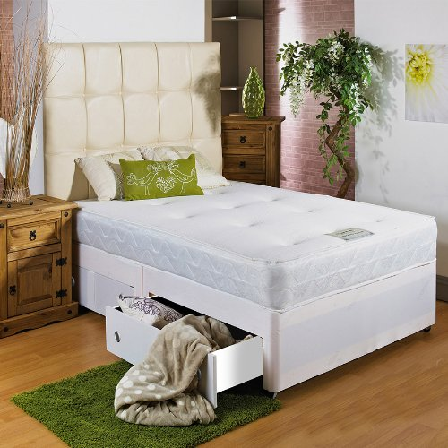 Hf4you White Memory Soft Divan Bed - 2ft 6' Small Single - 2 Drawers Same Side - 20' Cream Faux Leather Headboard