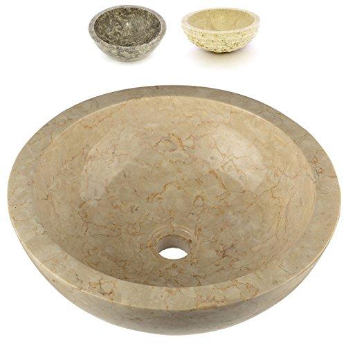 Divero Aufsatz-Waschbecken Bologna Handwaschbecken Waschschale Marmor Natur-Stein poliert rund beige Sand