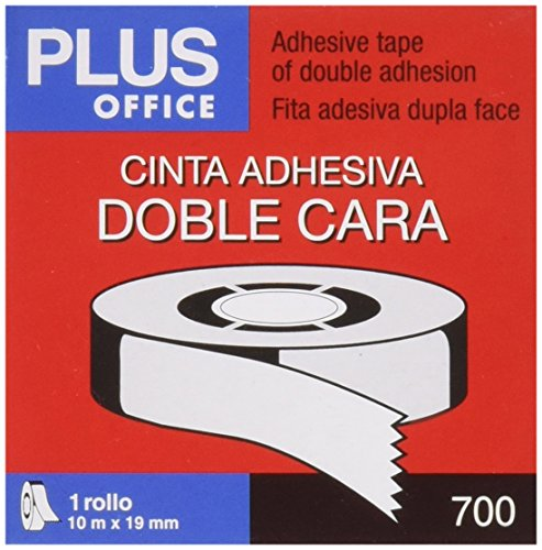 Plus Office 63Q - Cinta adhesiva doble cara, 19 mm x 10 m, crema