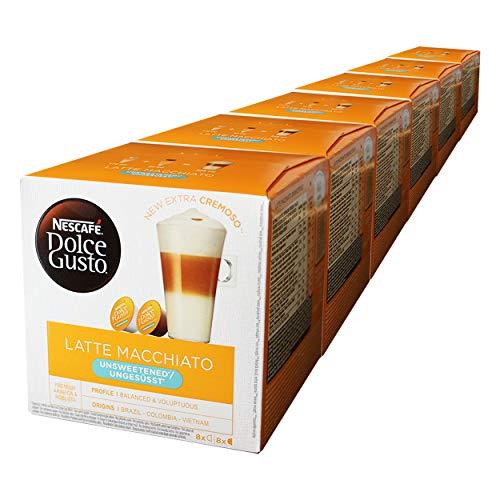 Nescafé Dolce Gusto Latte Macchiato sin azúcar, Paquete de 6, 6 x 16 Cápsulas (48 Tazas)