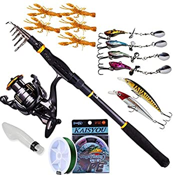 Sougayilang Fishing Rod Reel Combos, Collapsible Telescopic Fishing Pole with Spinning Reel Kit