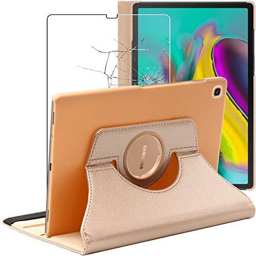 ebestStar - kompatibel mit Samsung Galaxy Tab S5e 10.5 Hülle T720/T725 Rotierend Schutzhülle Etui Ständer, Rotating Hülle Cover, Gold + Panzerglas Schutzfolie [Tab: 245 x 160 x 5.5mm, 10.5'']