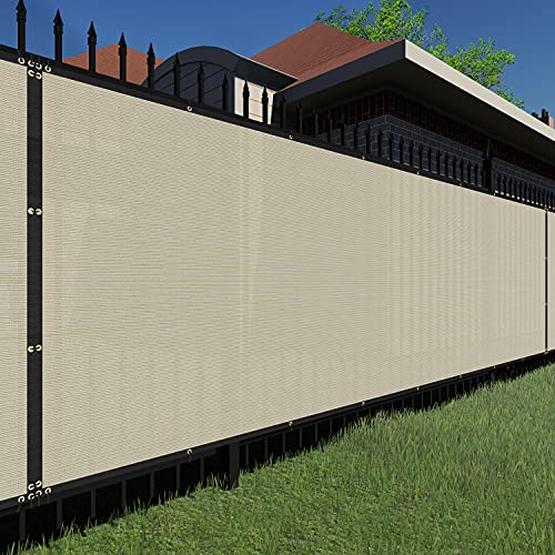 TANG Sunshades Depot Beige 4x20' FT Privacy Fence Screen Temporary 150 GSM Heavy Duty Windscreen Fence Netting Fence Cover with Zipties 88% Privacy Blockage Excellent Airflow 3 Years Warranty
