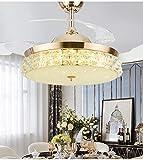Qinmo Luces de ventilador de techo, Crystal Light Ventilador, Ventilador inteligente de la lámpara, la luz invisible al ventilador, ventilador de techo 42 pulgadas Control de pared de luz, lámpara cri