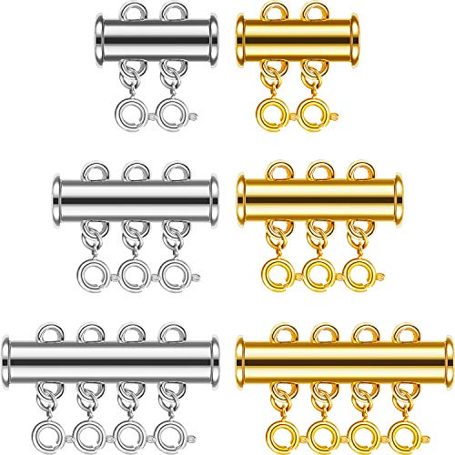 6 Set 3 Sizes Necklaces Clasp Slide Tube Lock Necklace Spacer Clasp Multi Strands Magnetic Tube Lock Bracelet Connectors for Jewelry, 42 Pieces (Gold, Silver)