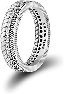 خاتم من الفضة الإسترلينية من CKK 925 مع كريستال شفاف للرجال، خواتم رائعة للمراهقين (حبوب الطاقة، 8)