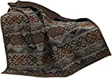 HiEnd Accents Del Rio Southwestern Throw Blanket with Faux Leather Reverse, Full, Blue & Brown