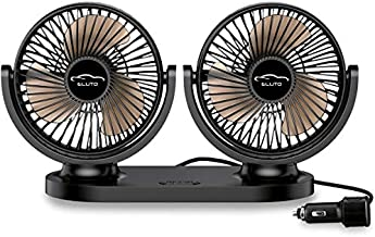 ELUTO Dual Head Car Fans Cigarette Lighter 12V/24V Fan Electric 3 Speed Car Cooling Fan 360 Degree Rotatable Car Fan for Car SUV RV Boat Auto Vehicles(5 Inches)