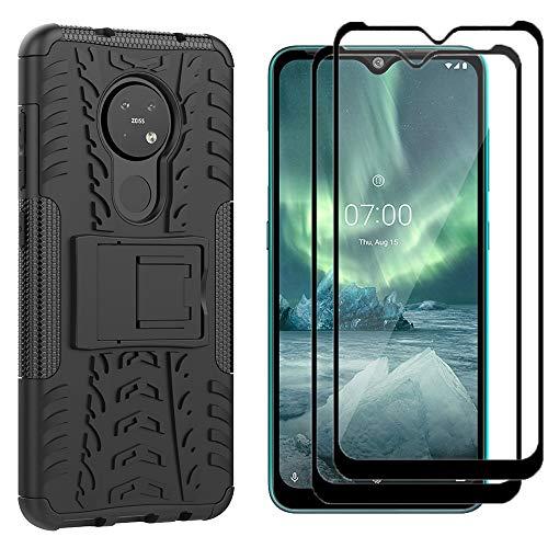 Dedux für Nokia 7.2 Schutzhülle, TPU PC Kombination Faltbarer Halter Outdoor Hülle, Schutzhülle mit Ständer + [2 Stück] 9H Festigkeit Bildschirmschutzfolie Folie. Schwarz