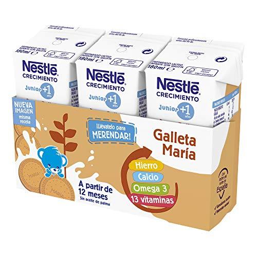 Nestlé Junior Junior Crecimiento 1 + Galleta María A Partir De 1 Año 4530 g - Pack de 24 bricks de 180 ml