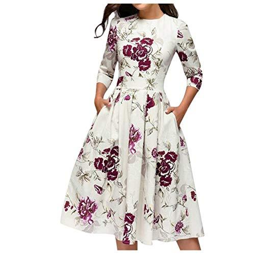 iHENGH Damen Frühling Sommer Rock Bequem Lässig Mode Kleider Frauen Röcke Elegent A-Linie Vintage Druck Party Vestidos Kleid (XXL, Weiß)