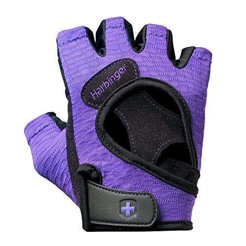 Harbinger FlexFit Fitness Handschuh Damen, Gewichtheber Handschuhe, Waschmaschinengeeignet, Schwarz/Lila