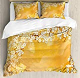 Ambesonne Asian Duvet Cover Set, Japanese Cherry Blossom Sakura Tree Branches Blooms Artwork, Decorative 3 Piece Bedding Set with 2 Pillow Shams, Queen Size, Marigold Cream