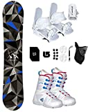 Symbolic Arctic Girl's Snowboard & Bindings & Boots +Leash+Stomp+Mask+Burton Decal Package (WHT Binding &Firefly Boot WHT Pink 2, 110cm Arctic Rocker)