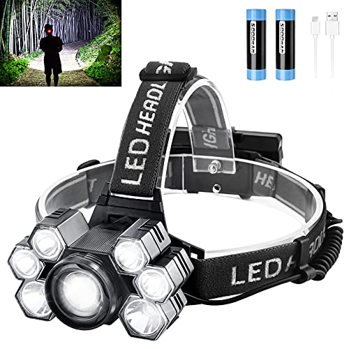 Headlamp Rechargeable LED Head Lamp Bright 9000 Lumens Headlamp Flashlight with 5 Modes Zoomable 90°Adjustable Lightweight Waterproof Headlamps for Adults Outdoors Hunting Fishing Hard Hat Work