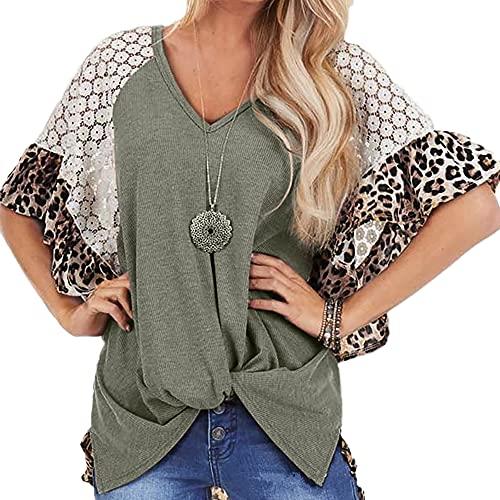 Elesoon, maglietta estiva da donna con scollo a V, motivo leopardo, svasato all'uncinetto, con nodo raglan a maniche corte, con scollo a V, A-verde, 38
