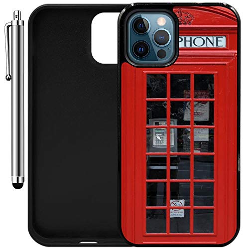 """Custom Case Compatible with iPhone 12 Pro Max (6.68"""") (Red Telephone Booth Best of London) Edge-to-Edge Rubber Black Cover Ultra Slim 