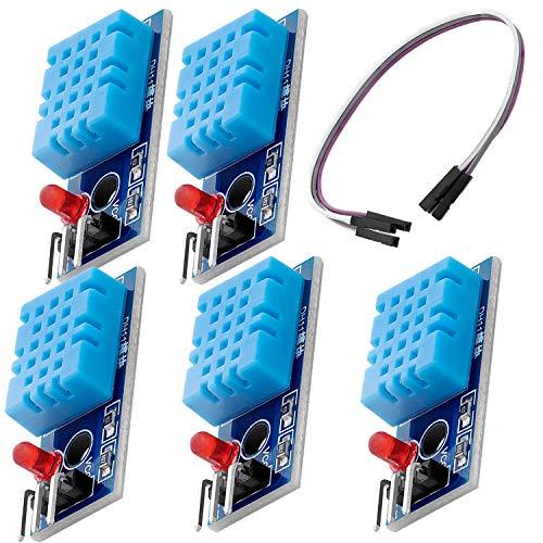 AZDelivery 5 x DHT11 Breakout Modulo Sensor de Temperatura y Humedad con Placa y Cable compatible con Arduino con E-Book incluido!