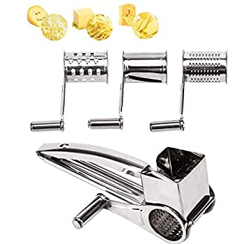 Rotary Cheese Grater - LOVKITCHEN Vegetable Stainless Steel Cheese Grater Shredder Cutter Grinder with 3 Drum Blades  Silver