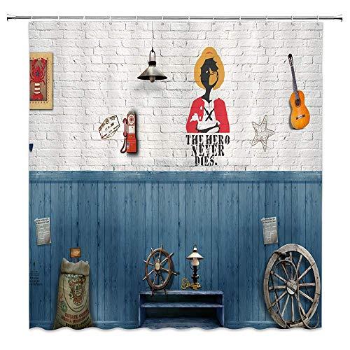 lovedomi Vintage Ziegel Wand Duschvorhang Rustikale Ozeanwände E-Gitarre Held Holz Gummi Deck Dekor Blau Weiß Stoff Badezimmer Gardinen,Wasserdichtes Polyester Mit Haken 72x72 Zoll