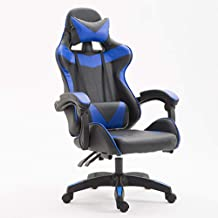 Ergonomic Game Chair with Footrest, Home Office Computer Swivel Chair with Lumbar Support, PU Leather Desk Chair with Recl...