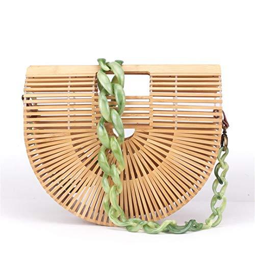 Rattan ONE Verano de Las Mujeres de bambú Bolsa de asa Superior Bolsa de asa Media Ronda Hecha a Mano Hueco Tejido Bolsa de Playa para Damas y niñas
