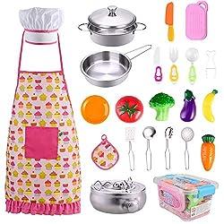 GOLDG 24 Stück Küchenspielzeug Set Kinderküche Zubehör Kochgeschirr Topf Kinderspielzeug zum Kochen Koch Rollenspiele für Kinder