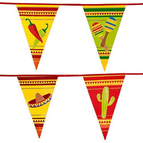 Boland 54400 - Guirlande de fanions Fiesta - Longueur : 6 m - Mexique - Décoration à suspendre - Décoration d'anniversaire - Vaisselle - Fête à thème - Carnaval