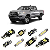 iBrightstar Super Bright LED Bulbs Package Kit Accessories Fit for Toyota Tacoma 2005-2021 Interior Map Dome Lights + Vanity Mirror Lights + License Plate Lights + Back Up Reverse Lights, White
