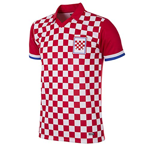 Copa Herren Croatia 1992 Football T-Shirt mit Retro-Fußballkragen, rot/weiß, S