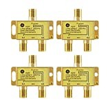 GE Digital 2-Way Coaxial Cable Splitter, 4 Pack, 2.5 GHz 5-2500 MHz, RG6 Compatible, Works with HD TV, Satellite, Internet, Amplifier, Antenna, Gold Plated Connectors, Corrosion Resistant, 55288