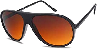 Sunglass Stop - Blue Blocking Over sized Round Bomber Aviator Sunglasses Amber Tinted Lens (Black, Amber (Blue Buster Lens))