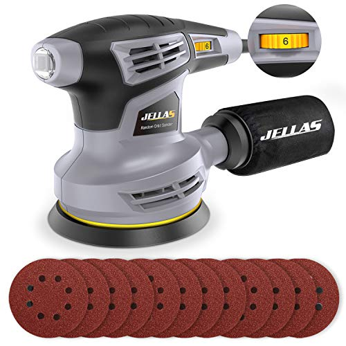 Jellas 5Inch Random Orbit Sander with 18Pcs Sandpapers 13000RPM 6 Variable Speed Sander Machine High Performance Dust Collection System for Woodworking 25A Dust Collection Bag Include  OS02