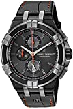 Maurice Lacroix Men's Aikon Stainless Steel Swiss-Quartz Watch with Leather Strap, Black, 23.8 (Model: AI1018-PVB01-334-1)