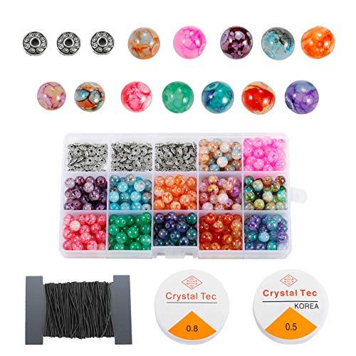 LABOTA 360 Stück 8mm Glasperlen Gemischte Farbe, Schwarze und Weiße Kristalllinien mit 100 Stück Spacer Perlen für Armbänder Schmuckherstellung