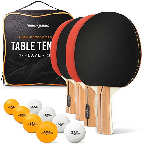 PRO SPIN Table Tennis Set with Premium Table Tennis Bats and Balls |...