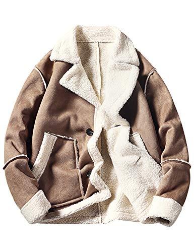 Yimoon Men's Faux Suede Shearling Coats Sherpa Lined Jackets (Khaki, Medium)